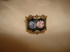 Enameled Sterling Silver ROSES 1-1/4 wide by PastPossessionsOnly
