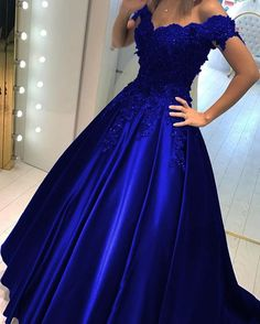 a1caaaf039 Lace Flower Off The Shoulder Satin Prom Dresses Ball Gowns in 2019 ...