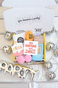 Sometimes, you just gotta dance it out. Send the Teeny Dance Party from The Confetti Post as a cheer up care package. #thinkingofyougift #cheeruppackage #carepackage #easygiftidea