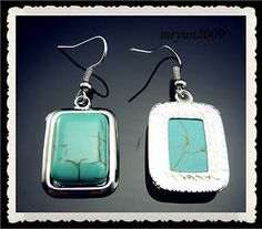 Tibetan Silver wrapped Charm Rectangle Turquoise Hook Earring