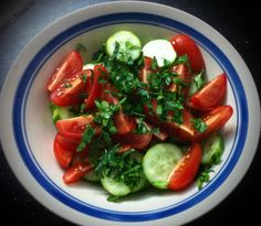 Salad of half skinned cucumber, grape tomatoes and parsley!
