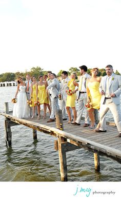 Wedding Party playing around on White Rock Lake - Love the colors!  Everyone looks perfect!  Yellow, orange, red - J May Photography