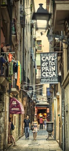 Calle Sabateret, Barcelona, Spain by Carlos Oliveras on Places Around The World, Oh The Places You'll Go, Travel Around The World, Places To Travel, Places To Visit, Around The Worlds, Tourist Places, Wonderful Places, Great Places