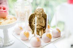 O bolo estala de uma festa-de-rosa & Gold Batizado via Idéias do partido de Kara!  KarasPartyIdeas.com (9)