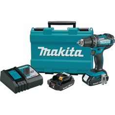 "Makita XFD10R 18V Compact Lithium-Ion Cordless 1/2"" Driver-Drill Kit. Makita-built 4-pole motor delivers 480 in. lbs. of Max Torque. Mechanical 2-speed transmission (0-600 & 0-1,900 RPM) for a wide range of drilling and driving applications. Features Extreme Protection Technology (XPT) which is engineered to provide increased dust and water resistance in harsh job site conditions. Dual L.E.D. lights with afterglow illuminate the work area. Ergonomically designed handle with rubberized…"