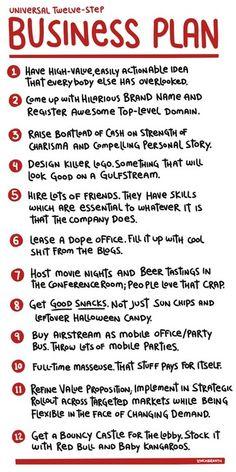 Universal Twelve Step Business Plan It is self explanatory I think :-) Inbound Marketing, Business Marketing, Content Marketing, Marketing Ideas, Business Logo, Media Marketing, Digital Marketing, Writing A Business Plan, Starting A Business