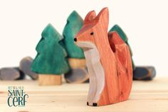 Brown bear with baby, wooden toy, play kit, eco-friendly toy, forest animal Wooden Figurines, Wooden Toys, Eco Friendly Cleaning Products, Eco Friendly Toys, Red Fox, Forest Animals, Recycled Wood, Tea Light Holder, Baby Gifts
