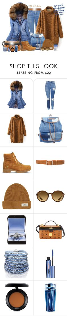 """""""Dans mon monde à moi..."""" by li-lilou ❤ liked on Polyvore featuring WithChic, Topshop, UNIONBAY, Timberland, rag & bone, I Dig Denim, Ray-Ban, Thierry Mugler, MCM and Sif Jakobs Jewellery"""