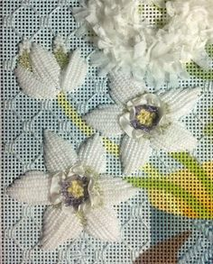 those are pretty gorgeous Ribbon Embroidery, Cross Stitch Embroidery, Embroidery Patterns, Cross Stitch Patterns, Needlepoint Stitches, Needlepoint Canvases, Needlework, Swedish Weaving, Canvas Designs