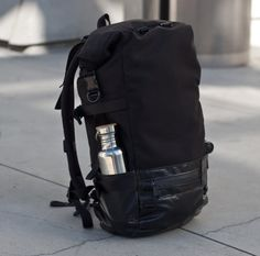 Roll Top Backpack commuter black cordura truck tarp by 1point61