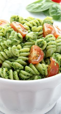 Spinach Pesto Pasta Salad | Baked by Rachel