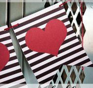 Free Printable Valentines day black and white stripe banner with red hearts! Party decoration or mantle garland | Skip To My Lou - Part 2