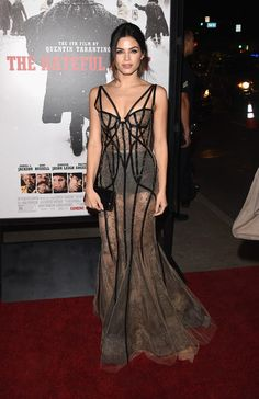 Jenna Dewan-Tatum looked alluring in a Marchesa sheer nude dress with black caged piping cascading along the gown for a glamorous look at 'The Hateful Eight' premiere. Brand: Marchesa