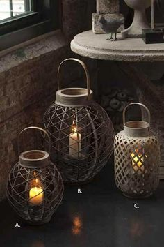 Asian Lanterns with Glass hurricanes - I want some of these!!