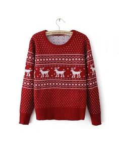 Red Reindeer Embroidered Knitted Sweater