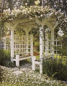 This is an example of a deeper arbor with built-in benches, but also imagine it without the built-ins and instead with two teak benches facing each other. I think the scale of this borders on being too big for your front yard.