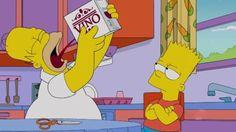 Homer Simpson drinking Box Vino