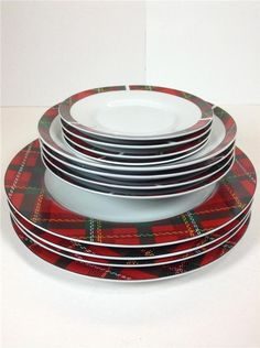 TARTAN PLAID Christmas Holiday Dinnerware by Gibson 12 piece #Gibson