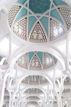 Masjid Jamek Kuching, Sarawak, Borneo, Malaysia - I need to do this white-on-teal ceiling look for something!