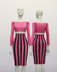 Basic high waist H line pencil dress stripe pattern at Rusty Nail via Sims 4 Updates