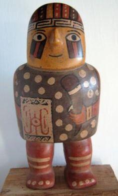 guerreros wari figuras decorativas arcilla,tierras de colores modelado a mano,pintura post-cocion