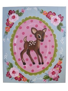 'by GeK' schilderij bambi en nostalgische bloemen! www.kinderwebwinkel.com