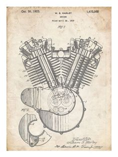 Harley-Davidson Engine 1923 US Patent Print 18X24 Poster HD Vintage Gift  - This will look great in your mancave! on Etsy, $11.32 CAD