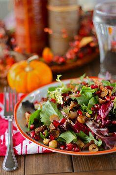 Pomegranate Hazelnut Holiday Salad w/Maple Bacon Dressing