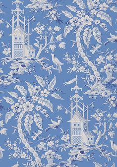 PAGODA GARDEN, Blue, T14204, Collection Imperial Garden from Thibaut wallpaper