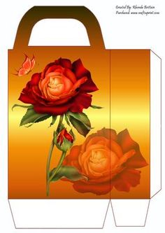 Orange Rose Gift Bag on Craftsuprint designed by Rhonda Brittain - This beautiful orange rose gift bag is easy to put together. Print twice on good quality card, cut out, fold and glue together.  - Now available for download!