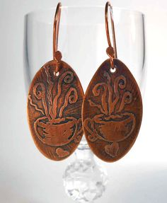 10% off for our Pinterest friends! Use coupon code PINTEREST at checkout! -- READY to SHIP Handmade Copper Rustic I Love Java Coffee Earrings CPE84