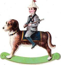 Oblaten Glanzbild scrap die cut chromo Kind child Hund dog  rocking horse