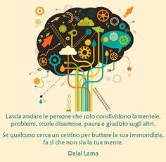 Lascia andare le persone che solo condividono lamentele,  problemi, storie disastrose, paura e giudizio sugli altri. Se qualcuno cerca un cestino per buttare la sua immondizia,  fa sì che non sia la tua mente. #Dalai Lama