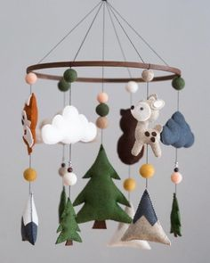 Various Felt Animals – felt Woodland Animal Nursery, Woodland Animals, Homemade Mobile, Baby Mobile Felt, Woodland Mobile, Mountain Nursery, Diy Bebe, Forest Animals, Nursery Decor