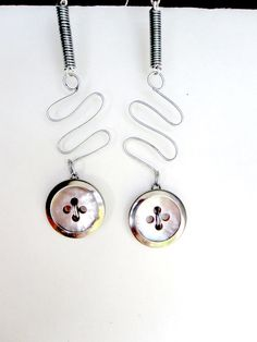 Robot Earrings Silver Wire and Mother of Pearl by Untimed on Etsy, $28.00