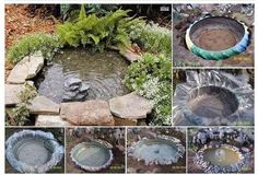 Easy pond idea...old truck tire, plastic lining, add rocks around the edge, add a water pump (optional) and a nice peaceful pond.