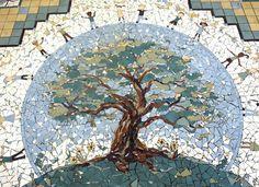 Artist Elizabeth Veglia, Mosaics, Installations, Wall Hangings, Public Art, Art with Public Participation, Art in Public Buildings, Hurricane Katrina, Wave, Space Shuttle, Earth, Floor Mosaic, Ocean Springs Bridge Panels Mosaics, Hurricane Camille,