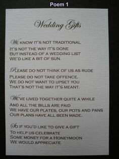Wedding Gift Poems Asking For Money For Home Improvements : Wedding Gift Poem on Pinterest Wishing Well Poems, Wedding Poems ...
