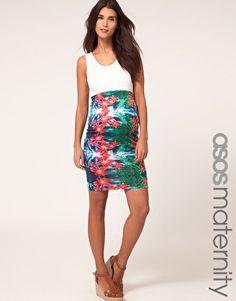 LOVE LOVE LOVE this ASOS Maternity Skirt In Tropical Print