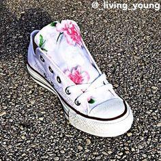 Floral Converse Shoes / Boho Light Pink Floral Chucks #floral #converse #shoes #Summer #festival #chucks $85