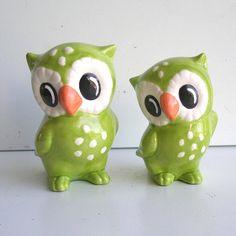 Ceramic Love Owl Figurines Vintage Design in by fruitflypie, $65.00