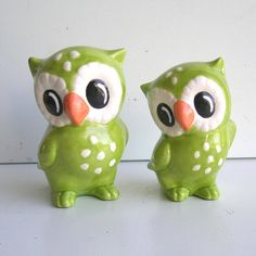 Ceramic Love Owl Figurines Vintage Design in by fruitflypie, $65.00