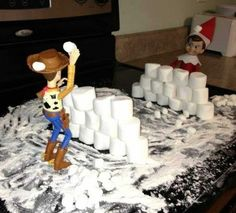 Most up-to-date Absolutely Free 100 funny Elf on the Shelf ideas you HAVE to try Concepts Toy Story snowball fight – 100 funny ideas for Elf on the Shelf – Netmums Christmas Activities, Christmas Traditions, The Elf, Elf On The Shelf, Noel Christmas, Christmas Crafts, Bonbon Halloween, Elf Auf Dem Regal, Dashing Through The Snow