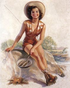 Sexy Pinup Cowgirl by Bradshaw Crandall. Pin Up Vintage, Cowgirl Vintage, Retro Pin Up, Vintage Art, Retro Art, Vintage Stuff, Cow Girl, Pin Up Girls, Comic Art