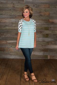 Miranda Striped Top - Light Blue