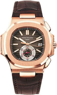 Patek Philippe Nautilus Watches. 40.5mm 18K rose gold case, sapphire crystal back, screw-down crown, black-brown dial with gold applied hour markers with luminescent coating, self winding caliber CH 2