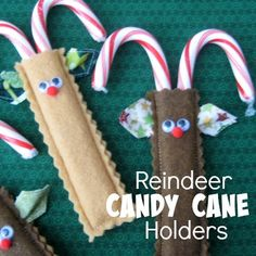 These reindeer candy cane holders are perfect for the holiday...