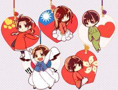 Hetalia (ヘタリア) - The Asian countries - China, Japan, South Korea, Hong Kong, & Taiwan