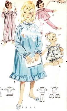 Teen Beach Era PJs-- Vintage 1960s Girls Nightgown and Pajamas Size 8 Butterick 2230 Sewing Pattern 60s PJs