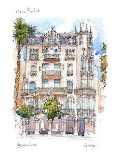 Casa Fuster PRINT / Lluís Domènech i Montaner. por drawingBarcelona